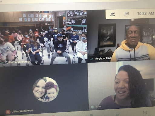 In the photo, Fergie Jenkins and his daughter Kim with Jillian Watterworth's Grade 3-4 class at Georges P. Vanier Catholic School, during a virtual meeting.