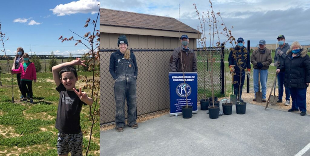 In the photos, students, staff and members of the Kiwanis Club of Chatham-Kent plant seven red maple trees recently at St. Angela Merici Catholic School, Chatham.